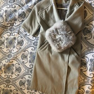 Cream coat with removable faux fur cuffs